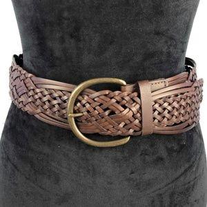 UNIVERSAL THREAD Brown Leather Macrame Belt S